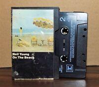 Scarce folk rock cassette NEIL YOUNG On the Beach 1974 black tape/slipcover case