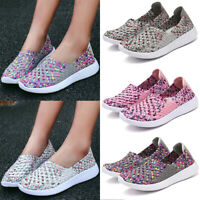 Women Slip On Woven Flat Sneakers Casual Rount Toe Stripe Athletic Loafers Shoes