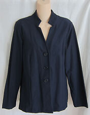 EILEEN FISHER WASHABLE STRETCH CREPE NOTCH COL FITTED JACKET S