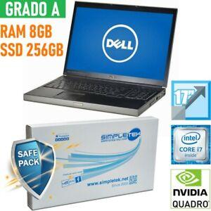 """WORKSTATION DELL M6500 I7 17"""" 8GB 256GB SSD NVIDIA QUADRO TASTIERA ITA."""