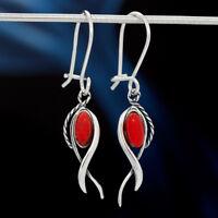 Koralle Silber 925 Ohrringe Damen Schmuck Sterlingsilber H0515