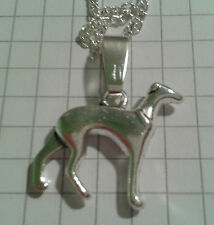 """TIBETAN SILVER""""GRAY HOUND DOG ON 22"""" SILVER PLATED CHAIN NECKLACE +POUCH"""