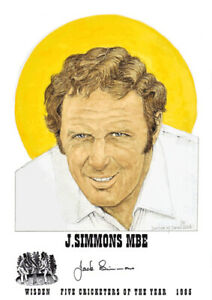 JACK SIMMONS - Wisden Cricketer of the Year 1985 Print - GENUINELY AUTOGRAPHED
