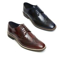 Lucini Men's Leather Smart Brogue Casual Lace Up Designer Shoes Sizes UK 6 To 12