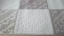 Modern Quality  Squared  Cream & Light  Brown Rug 75cm x 355cm Thick 16mm Carpet