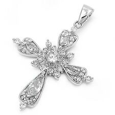 Elegant Cross Pendant with Cubic Zirconia Sterling Silver 925 Jewelry 38 mm
