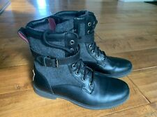 UGG Women's Kesey Black Leather Waterproof Boot, Size 7 US.