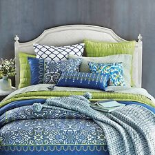 Sky Selena Blue 7 PC Reversible Printed Duvet Cover Set Bedding Queen $600