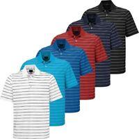 Greg Norman PlayDry Micro Core Pique Stripe Mens Golf Polo Shirt