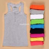 Womens Racerback Tank Tops Cami Mini Sleeveless Vest Waistcoat T-Shirt New