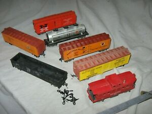 A6533 HO plastic GILBERT AMERICAN FLYER 6 FREIGHT CARS & CABOOSE
