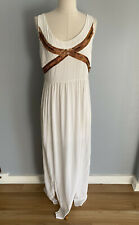 Portmans Signature Women's Maxi White Dress With Gold Details Size 12