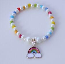Pearl & Seed Bead Rainbow Charm Bracelet Rainbow Bead Gay Pride LGBTQ Festival