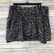 Theory Womens Size 12 100% Silk A Line Mini Skirt Ruffle Wimin Black Red Print