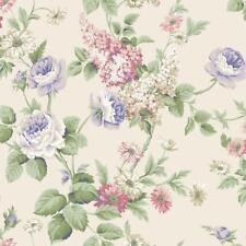 Wallpaper Cottage Floral Vine Rose and Wisteria Multi Color on Cream Background
