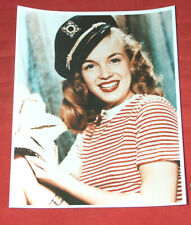 """8X10"""" Color Photo of a Young MARILYN MONROE In Military Hat Reprint on AGFA EX"""