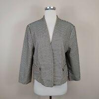 Ann Taylor 16 Jacket Open Front Blazer Beige Black Stripe Zipper Pocket Cotton