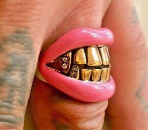 Designer Pink Lips Gold Grill Cz Fang Teeth Bling Ring Hip Hop Rap Tattoo Goth