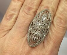 Huge Sterling Silver 2 - 3 Ct Diamond Pave Cluster Cocktail Wedding Big Ring 7