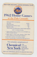1962 New York Mets home games pocket schedule Polo Grounds Chemical Bank NY