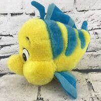 Vintage Walt Disney The Little Mermaid Flounder Plush Yellow Blue Friendly Fish