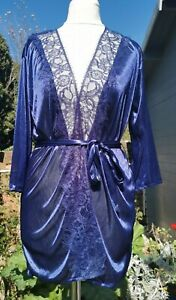 Approx Size 8 Indigo Satin Lace Bed Jacket & String Thong New