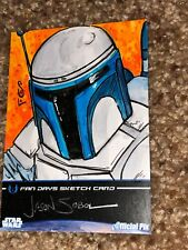 Star Wars Artist Sketch Card 1/1 Jango Fett by Jason Sobol Fan Days