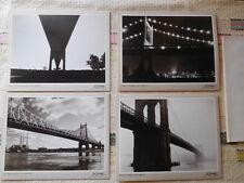 Set of 4 Vtg 1982 Joel Greenberg NYC Bridges B/W Photo Notecards New York Cards