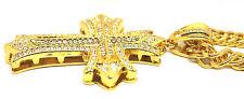 New18K Oro Lleno Iced Bling Collar de Cadena Larga Colgante Con Crucifijo En Cruz Grande Reino Unido