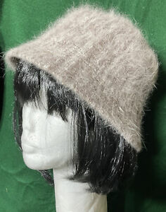 Gorgeous taupe Angora Wool Blend RETRO EEL WEAR deco Revival Bucket Hat M5