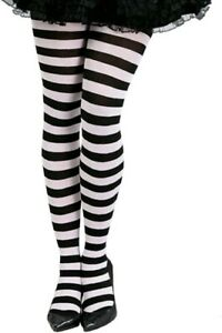 Ladies Black and White Striped Tights Alice Womens Halloween Fancy Dress