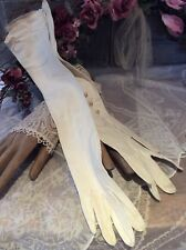 Antique FOWNES French Designer Ivory Kid Leather Ladies Gloves / Pearl Buttons