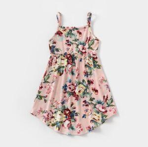 size 2/3/4/6/8 years new girls dress dusty pink floral curve hem girls dress