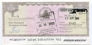 Zimbabwe 1 000 Dollar Travellers Cheque Pick 15 Error - Double MICR Overprint