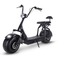 Electric Scooter 1000W Fat Tires Adult Citycoco, 2 Seat Knockout Bike,Black