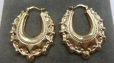 Nuevo 9ct Gold Talla Mediana Pendientes Criollos 3 gramos 37mm