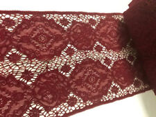 """9"""" Wide Burgundy Marsala Red Wine Stretch Lace with Floral Rose Pattern"""