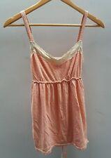 Tu Coral Amd Cream Striped Top Size 10 Lace <J1683