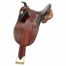 "Australian Outrider Stock Poley Saddle w/ Horn Small 16"" Brown"