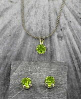 6mm Peridot Gemstone Earrings and Pendant Set with chain in Sterling Silver