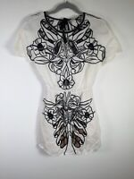 Alice McCall womens white floral cut out fit and flare dress size 6 short sleeve