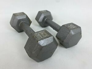 Set of Two 10 Lb Pound Hex Head Iron Metal Dumbbell Pair Set 2 Weights