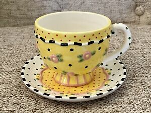 Mary Engelbreit Yellow Polka Dot Pink Flowers Tea Cup and Saucer