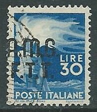 1947-48 TRIESTE A USATO DEMOCRATICA 2 RIGHE 30 LIRE VARIETà SOPRASTAMPA - L1