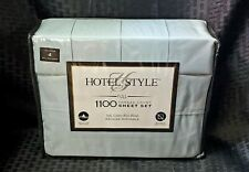 Hotel Style 1100 Thread Count Cotton King Sheet Set w/ 4 Pillowcases Teal Cloud