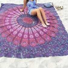 Square Beach Towel Shawl Scarf Women Round Tapestry Chiffon Tablecloth Purple