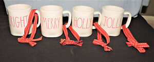 Lot of 4 ~ RAE DUNN by Magenta Red Letter Christmas Mini Ivory Mug Ornaments