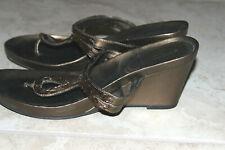 Mossimo Women Gold Brown Platform Wedge Sandals Sz: 8