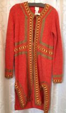 Anna Sui Cardigan Sweater Orange Embroidered Knee Length Size P NWT $480