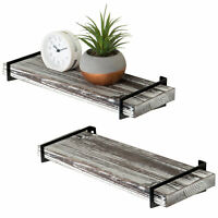 16-Inch Rustic Gray Wood Floating Shelves with Black Metal Brackets, Set of 2